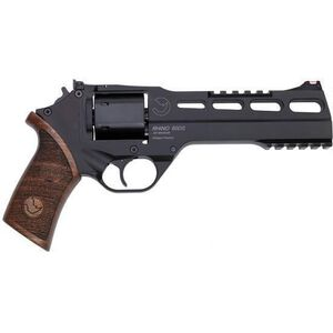 "Chiappa Rhino 60DS Double Action Revolver 9mm Luger 6"" Barrel 6 Rounds Aluminum Alloy Frame Wood Grips Matte Black"