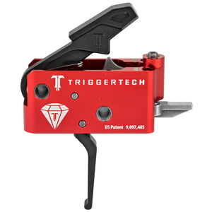 Trigger Tech AR Diamond Trigger Two Stage Flat Shoe Small Pin Compatible 7075 Aluminum Anodized Housing Red