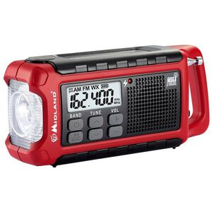 Midland Radio Corporation E-Ready Series Compact Emergency Crank Weather Alert Radio AM/FM Rechargeable Li-Ion Battery Solar Panel LED Light ER210