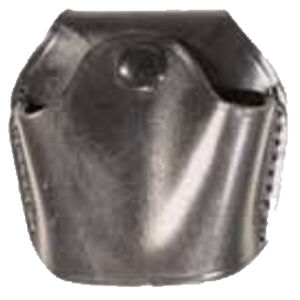 Stallion Leather Quick Release Open Top Standard Handcuff Holder Nickel Hardware Plain Finish Leather Matte Black OTCC-1