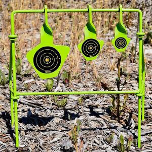 GSM Outdoor/SME Folding Reactive Steel Target .22 Caliber Rimfire Only 3 Floating Targets High Visibility Green Finish