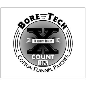 "Bore Tech X-Count Cotton Patches 3"" Square .50 Caliber to 10/12/16/20 Gauge Cotton Flannel 500 Count BTPT-3-S500"