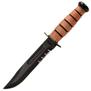 "KA-BAR USMC Fighting and Utility Knife 7"" Partially Serrated Blade Leather Handle & Sheath Warranty"