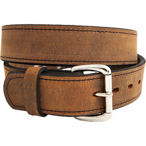"Versacarry Double Ply Belt 1.5"" Exotic Water Buffalo Nickel Plated Buckle Size 42 Distressed Brown"