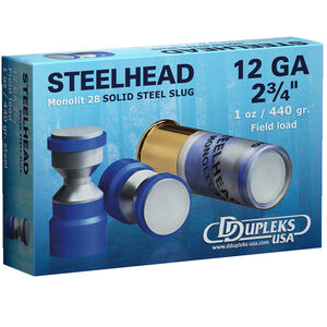 "DDupleks USA Steelhead Monolit 28 12 Gauge Ammunition 5 Rounds 2-3/4"" 1 oz Solid Steel Slug Lead Free 1460 fps"