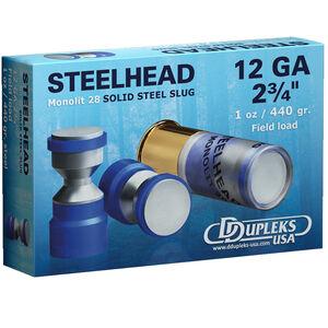 """DDupleks USA Steelhead Monolit 28 12 Gauge Ammunition 5 Rounds 2-3/4"""" 1 oz Solid Steel Slug Lead Free 1460 fps"""