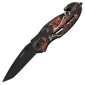 """KutMaster Wildfire Rescue Folding 3.2"""" Plain Tanto Black Finish 420 Stainless Steel Blade with Pocket Clip Moonshine Wildfire Handle 91-M1834CP"""
