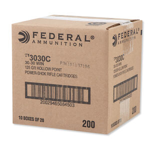 Federal Power-Shok .30-30 Winchester Ammunition 200 Rounds HP 125 Grains 3030C