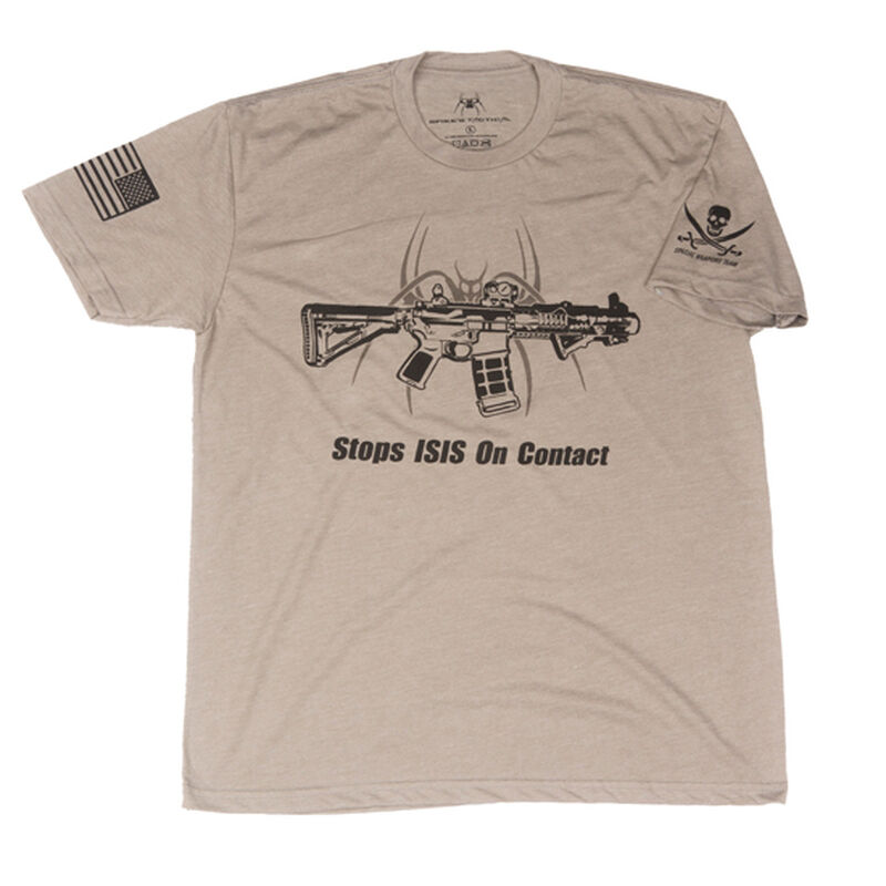 Spike's Tactical Stops ISIS On Contact Men's Short Sleeve T-Shirt 2XL Warm Grey
