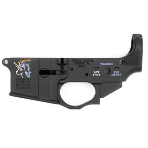 Spikes Tactical AR-15 Forged Stripped Lower Receiver Multi Caliber Snowflake Logo Color Filled Aluminum Black
