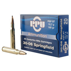 Prvi Partizan PPU .30-06 Springfield Ammunition 20 Rounds 165 Grain Pointed Soft Point Boat Tail 2800fps