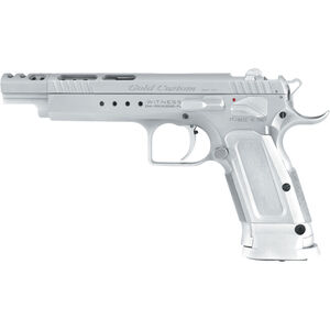 EAA Witness Elite Gold Team Semi-auto Pistol .38 Super 5.25 Barrel 17 Rounds, Compensater, No Sights, Drilled and Tapped, Single Action, Chrome Finish