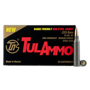 TulAmmo .223 Remington Ammunition 20 Rounds Steel Case Brass-JHP 62 Grains