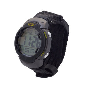 UZI Brand Guardian Digital Watch Men's Alarm Chrono Back Glow Stainless Steel Caseback Nylon Strap