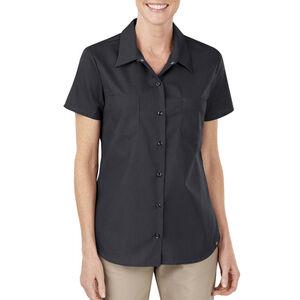 Dickies Women's Industrial Short Sleeve Permanent Press Poplin Work Shirt Large Black FS5350BK