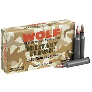 Wolf Military Classic .223 Remington Ammunition 55 Grain Bi-Metal Jacketed HP Steel Case 3
