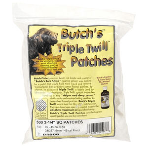 """Butch's Triple Twill Patches .35 to .45 Caliber Rifle 2-1/4"""" Square 500 Patches"""
