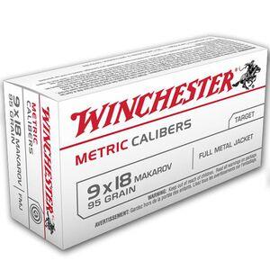 Winchester USA 9x18 Makarov Ammunition 50 Rounds, FMJ, 95 Grain