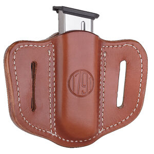 1791 Gunleather Single Stacked Magazine Single Magazine Pouch 1.1 OWB Ambidextrous Leather Black/Brown