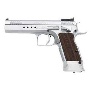 "EAA Witness Elite Limited Semi Automatic Handgun .40 S&W 4.75"" Barrel 15 Rounds Checkered Wood Grips Brushed Chrome Finish"