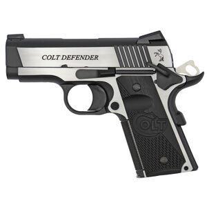 "Colt 1911 Combat Elite Defender Model Semi Auto Pistol 9mm Luger 3"" Barrel 9 Rounds Ambidextrous Safety Novak Night Sights G10 Grips Two Tone Finish"