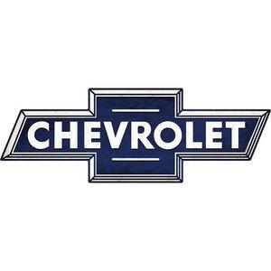 "Open Road Brands ""Chevrolet Bowtie"" Embossed Tin Sign 28""x9.77"""