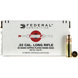 Federal Range Target Practice .22 Long Rifle Ammunition 50 Rounds 40 Grain Copper Plated Round Nose 1240fps