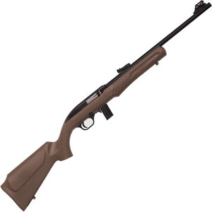 "Rossi RS22 .22 LR Semi Auto Rimfire Rifle 18"" Barrel 10 Rounds Fiber Optic Sight Brown Synthetic Stock Matte Black Finish"