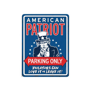 """Open Road Brands Patriot Parking Tin Sign 12""""H x 9""""W"""
