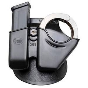 Fobus Handcuff/Magazine Combo Pouch 9mm/.40 Double Stack Magazines and S&W Chain Handcuffs Right Belt Attachment Polymer Black