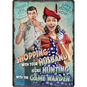 """River's Edge Products """"Hunt w/ Game Warden"""" Tin Sign 12 Inches by 17 Inches"""