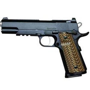 """Dan Wesson 1911 Specialist Government Semi Auto Pistol .45 ACP 5"""" Barrel 8 Rounds Fixed Night Sights G-10 Grips Stainless Steel Black Duty Finish"""