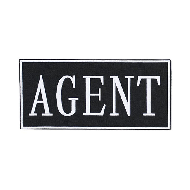 """Voodoo Tactical Law Enforcement Patches- AGENT (White 9"""" x 4 1/8"""")"""