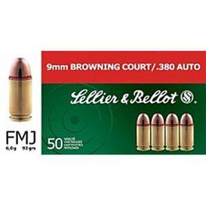 Sellier & Bellot .380 ACP Ammunition 92 Grain FMJ 955 fps