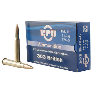 Prvi Partizan PPU .303 British Ammunition 20 Rounds 174 Grain Full Metal Jacket Boat Tail 2400fps