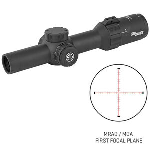 SIG Sauer Tango4 1-4x24 Riflescope Illuminated MRAD Milling Reticle 30mm Tube .20 MRAD Adjustments First Focal Plane CR2032 Battery Black