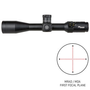 SIG Sauer Tango4 4-16x44 Riflescope Illuminated MRAD Milling Reticle 30mm Tube .10 MRAD Adjustments Side Parallax Adjustment First Focal Plane CR2032 Battery Black