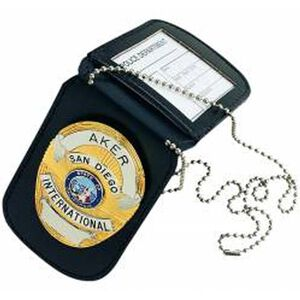 Aker Leather Reversible Badge and ID Holder Black
