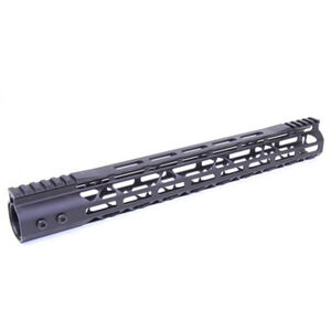 "Guntec USA AR-15 15"" MOD LITE Skeletonized Series M-LOK Free Floating Handguard with Monolithic Top Rail Aluminum Anodized Black"