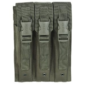 Voodoo Tactical 9mm MP5/SMG Triple Magazine Pouch Buckle Closure Flap MOLLE Webbing Compatible Nylon OD Green