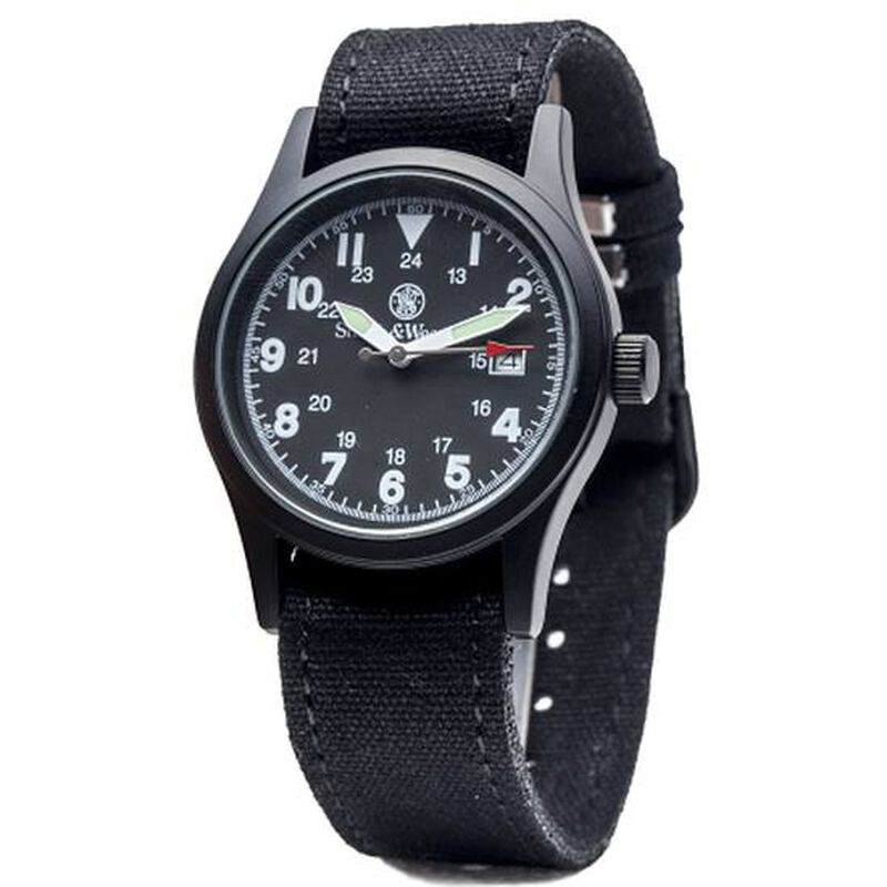 Smith & Wesson Military Watch with Nylon Strap Water Resistant Black Face Black, Tan, Olive Drab Straps SWW-1464-BK