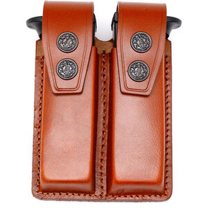 """JBP Double Magazine Case  Brown Leather 2"""" Belt Loops Holds two single Stack .45 Caliber"""