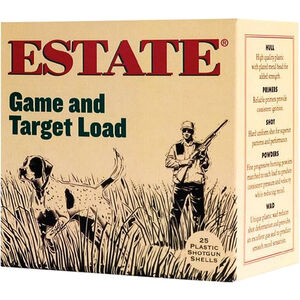 """Estate Cartridge Game and Target Load 20 Gauge Ammunition 2-3/4"""" Shell #6 Lead Shot 7/8oz 1210fps"""