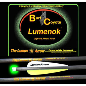 "Lumenoks Burt Coyote Green Crescent Illuminated Crossbow Bolt 20"" Carbon RB-425 Battery 319 Grains 3 Pack BECC3G"