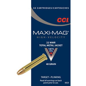 CCI Maxi-Mag .22 Magnum Ammunition 50 Rounds TMJ 40 Grain 1,875 Feet Per Second