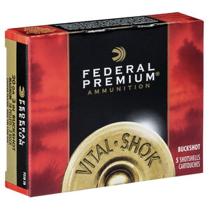 "Federal Vital-Shok 20 Gauge Ammunition 5 Rounds 3"" #2 Copper Plated Buck Shot P2582B"
