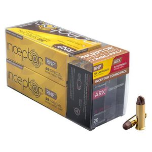 Inceptor Sport/Carry Combo Pack .38 Special Ammunition 120 Total Rounds 84 Grain RNP/77 Grain ARX Lead Free Injection Molded Copper-Polymer Projectile