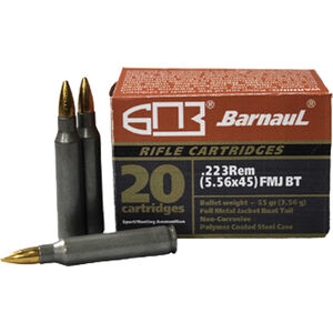 Barnaul .223 Remington Ammunition 55 Grain Bi-Metal Jacket FMJ with Polycoated Steel Case