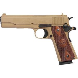 "Iver Johnson 1911A1 .45 ACP Semi Auto Pistol 5"" Barrel 8 Rounds Walnut Grips Coyote Tan"