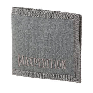 Maxpedition BFW Bi-Fold Wallet Triple Nylon Fabric Construction Anti-Counterfeit Logo Embossed Liner Teflon Coated Matte Gray